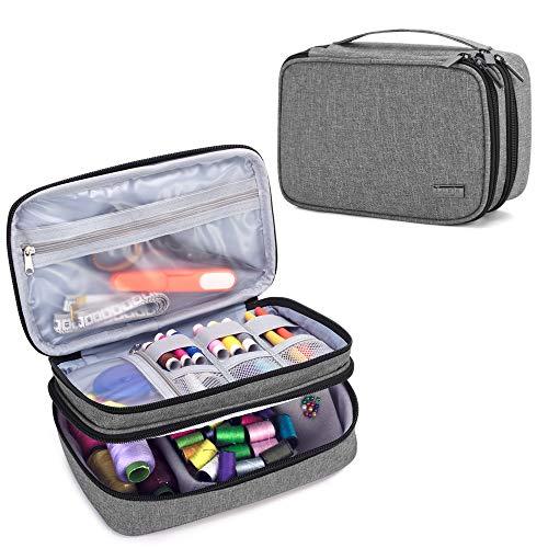 Luxja Organizador de Tejer Bolsa para Accesorios de Coser como Agujas Tijeras Hilos (No incluido accesorios), Gris