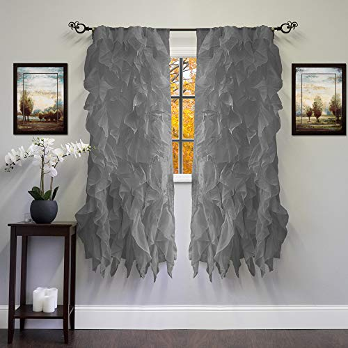"""Sweet Home Collection 2 Pack Window Panel Sheer Voile Vertical Ruffled Waterfall Curtains, 63"""" x 50"""", Gray"""