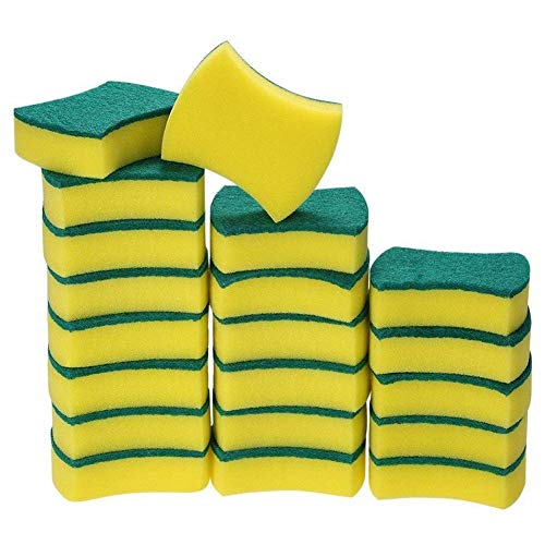 PPuujia Multifunctionele Heavy Duty Scrub Spons Ultra Dunne Magische Schoonmaak Spons Eraser Keuken Badkamer Meubelen Leer (Kleur: Geel en groen)