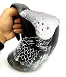 Global Prime Craft Drinking Horn Mug - Genuine Handcrafted Viking Horn Cup for Mead, Ale and Beer - Original Medieval Tankard_500 to 750 ML (Size_6 inch) Free A Small Glass with This Mug