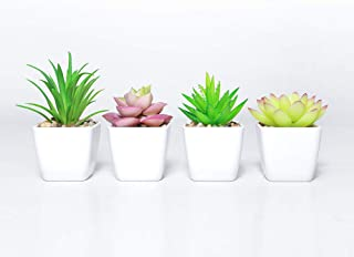 DuHouse Fake Succulents Plants Artificial Plant Potted in Mini Square White Pots for Wedding Home Garden Decor Set of 4(Green)
