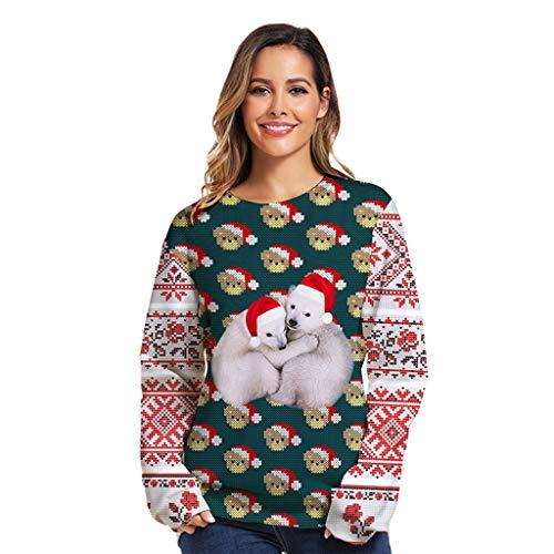 Alwayswin Damen Mode Weihnachten Sweatshirt 3D Print O-Neck Pullover Langarm Bluse Tops Lässig Lose Streetwear Langarmshirt Herbst und Winter Lange Hülsen T-Shirt Tuniken Oberteil