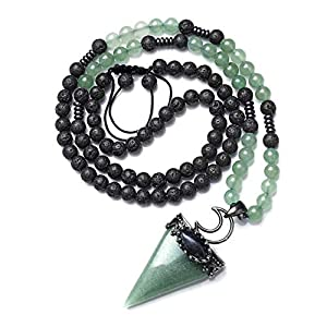 Top Plaza Natural Stone Healing Crystal Sodalite Triangle Pointed Gemstone Pendant Necklace Crescent Moon Jewelry Adjustable Lava Rock Beads Necklaces for Women Men