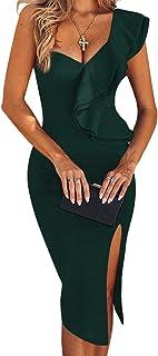UONBOX Women's Elegant Off Shoulder Cocktail Party Bandage Dress with Scallo Detail