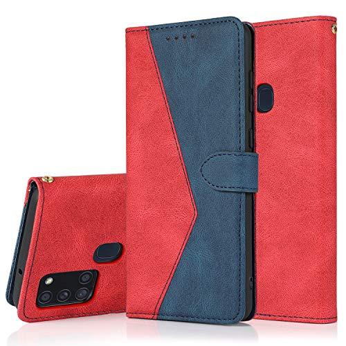 SMYTU Kompitabel mit für Samsung Galaxy A21s Hülle, Klapphülle Magnetisch Handyhülle Ledertasche Schutzhülle für Samsung Galaxy A21s-Rot