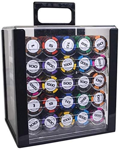Capacity 600 / 1000pcs Casino Poker Fichas de póquer con Caja de acrílico / Bandeja / manteles Grandes para Texas Holdem...