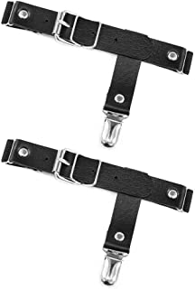 Jurxy 2PCS Gothic Punk Garters Leg Ring Leg Elastic Punk Harness Garter Belt Adjustable Suspender with Metal Clips – Black