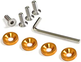 iJDMTOY (4 JDM Racing Style Gold Aluminum Washers Bolts Kit for Car License Plate Frame, Fender, Bumper, Engine Bay, etc