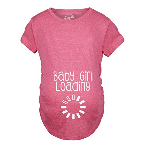 Maternity Baby Girl Loading T Shirt Funny Pregnancy Announcement Reveal Cool Tee (Pink) - XL