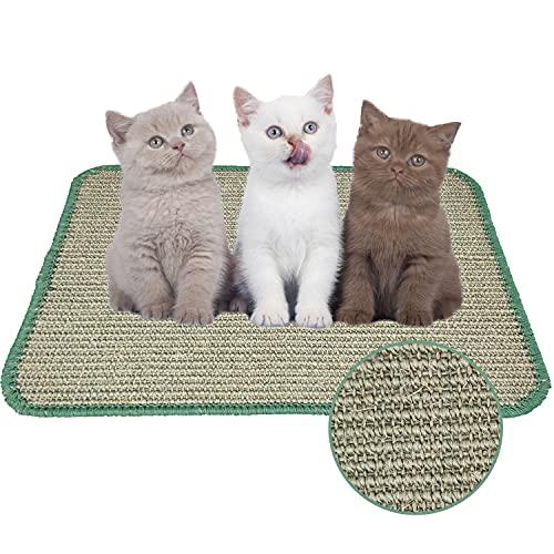 Faffooz 40 * 60cm Estera para Rascar el Gato Alfombrilla para Rascar para Gatos Almohadilla de Sisal Natural Protege Alfombras y Sofás Adecuado para Gatos Pequeños, Medianos y Grandes