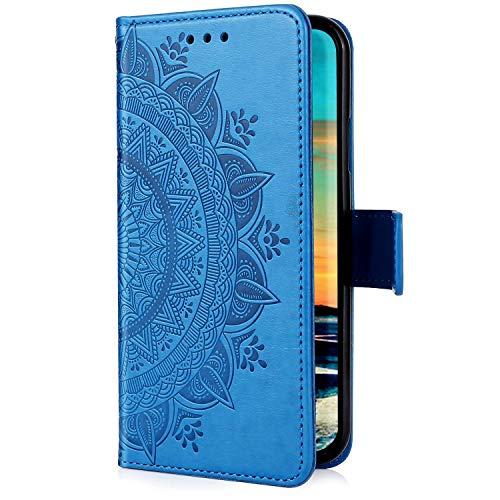 Uposao Kompatibel mit Samsung Galaxy S20 Plus Handyhülle Leder Hülle 3D Mandala Blume Muster Brieftasche Klapphülle Flip Case Schutzhülle Ständer PU Ledertasche Magnet Kartenfach,Blau