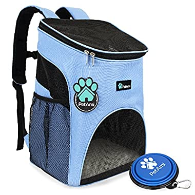 PetAmi Premium Pet Carrier Backpack for Small Cats and Dogs | Ventilated Design, Safety Strap, Buckle Support | Designed for Travel, Hiking & Outdoor Use (Light Blue)
