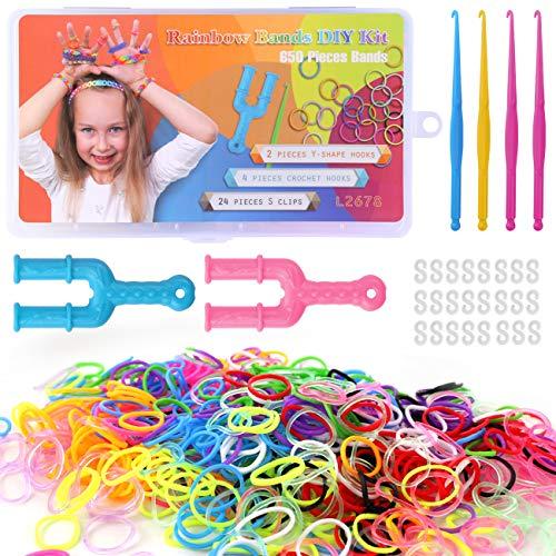 LIHAO 650 Piezas Bandas de Goma Elástica DIY Trenzadas Hacer Pulseras Manualidad Colores Regalo para Chicas Niñas