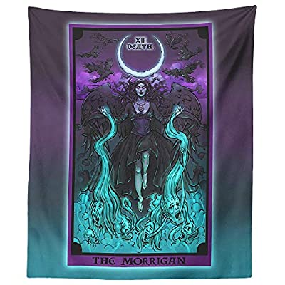 "The Morrigan Death Tarot Card Tapestry - Pagan Witch Pastel Goth Wall Hanging Home Decor (60"" x 50"")"
