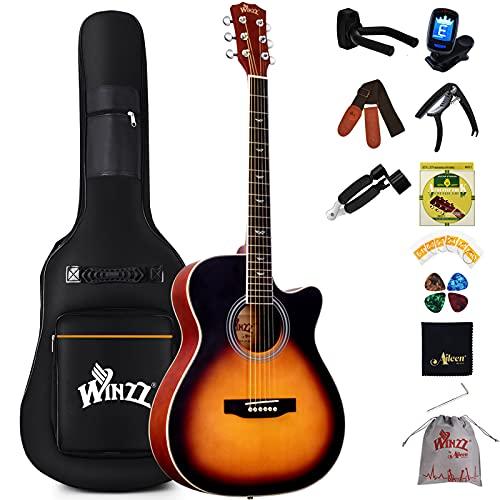Winzz Akustikgitarre Anfänger Kinder Erwachsene, Westerngitarre Set mit umfangreichem Zubehör (40 Zoll-Sunburst Matt)
