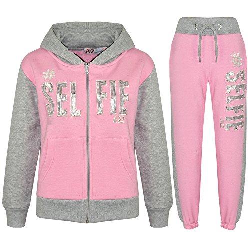 A2Z 4 Kids® Kinder Mädchen Jungen Designer - T.S #SELFIE Baby Pink & Grey 11-12