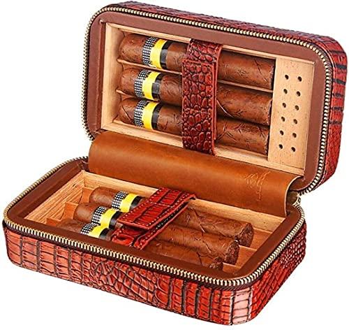 NHLBD XIAOQIANG Caja de Cigarrillos portátil de Viaje Cedro de Madera Caja de Cuero Caja Decorativa