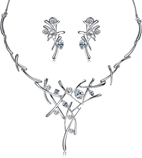 Viennois Necklace and Earrings Jewelry Set Gifts fit with Wedding, Prom, Bridesmaids or Mother