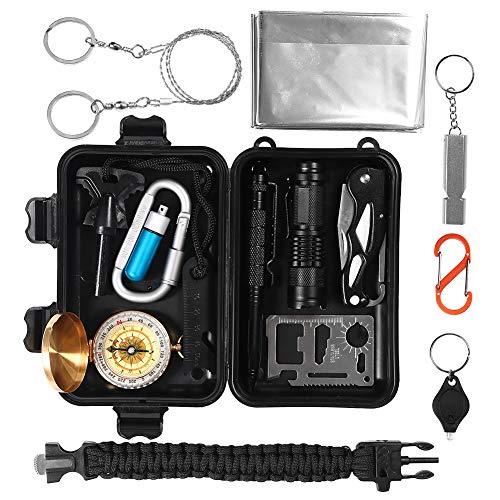Survival Kit 15 in 1, Außen Notfall Selbsthilfe NotÜBerlebens Zubehör Camping Wandern Jagd Fahrzeug Werkzeuge Box Set mit Klappmesser, Feuerstarter, Tactical Pen, Wasserdichte Survival Kit Box MEHRWEG