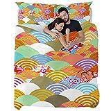 3pcs Duvet Cover Sets, Wave Cherry Blossom Japanese...