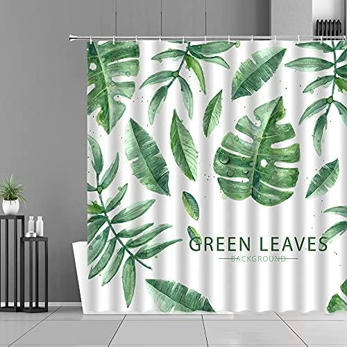 XCBN Tropische grüne Pflanzen Blätter Duschvorhang Monstera Blattmuster wasserdichte Stoffvorhänge Home Decor Duschvorhang A11 90x180cm