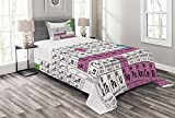 Ambesonne Periodic Table Bedspread, Colorful Chemistry Science Club Print for Teacher Students, Decorative Quilted 2 Piece Coverlet Set with Pillow Sham, Twin Size, Purple White