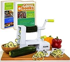 Spiralife Spiralizer Vegetable Slicer – Zucchini Spaghetti Maker, Heavy Duty Suction Cup Mount, 30-Spike Ergonomic Crank Handle – BONUS Digital Spiralizer Ebook – Perfect for Low Carb & Paleo Diet