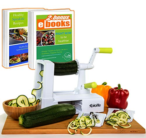 Spiralife Spiralizer Vegetable Slicer – Zucchini Spaghetti Maker, Heavy Duty Suction Cup Mount,...