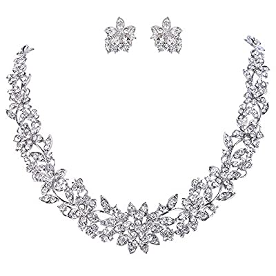 EVER FAITH Wedding Cluster Flower Leaf Necklace Earrings Set Clear Austrian Crystal Silver-Tone