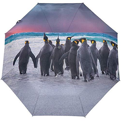 Pingüinos sobre la Playa Paraguas de Viaje a Prueba de Viento Auto...