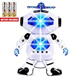 Toysery Walking Dancing Robot Toys for Kids, 360° Body Spinning with LED Lights and Music, Battery...