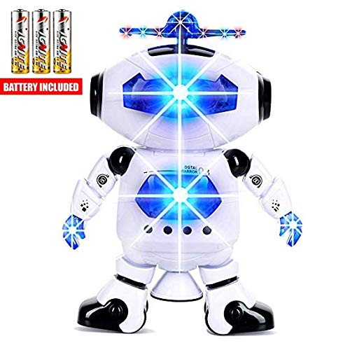 Toysery Walking Dancing Robot Toys for Kids - 360° Body Spinning Robot Toy with LED Lights Flashing...