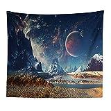 GenericBrands Nature Paysage Tapisserie Ciel étoilé Lune Fond Tissu Large tenture Murale pour Chambre Salon dortoir