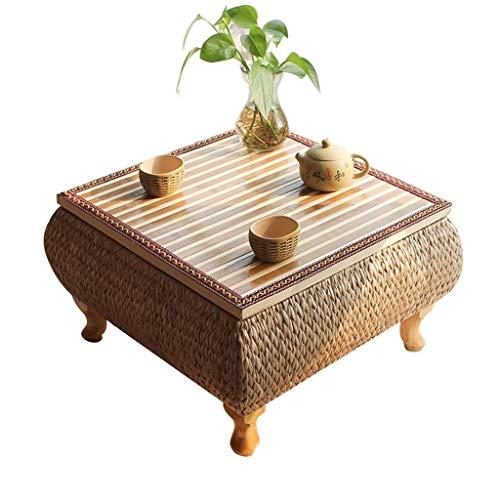Tables basses Meubles Salon Table Bambou lit Table d'ordinateur Paille créatif Table à thé Chambre à Coucher Balcon Salon, Fait à la Main Tables (Color : Wood, Size : 50 * 50 * 30cm)