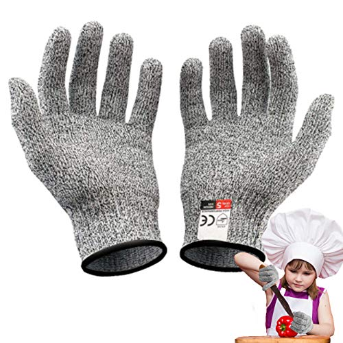 Schnittfeste Handschuhe, Schnittschutzhandschuh für Kinder, Level 5 Schutz Handschuhe für Küche, Garten, Beruf (XS(8-12 Jährige))