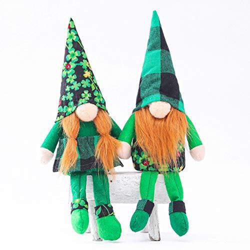 Moent 2 muñecas sin rostro del día de San Patricio, sombrero verde irlandés de ancianos, gnomo enano, festival, adornos para fiestas, decoración del hogar, regalos de peluche para niños