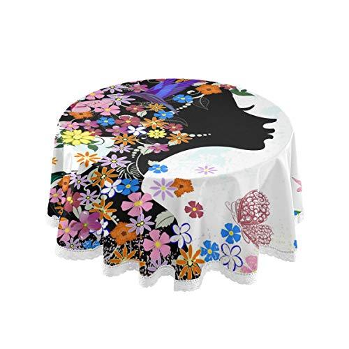 Bardic FELIZM Mantel redondo Afriacan Mujer Mariposa Flor Mantel de mesa de comedor Cubierta de encaje de 60 x 60 pulgadas para el hogar, fiesta, cocina, decoración navideña