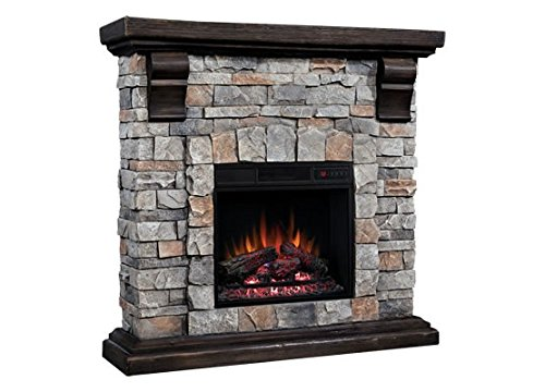 Classic Flame Pioneer Stone Electric Fireplace Mantel Package, Brushed Dark Pine - 18WM10400-I601