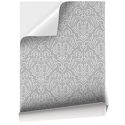 Papel Adhesivo de Vinilo para Muebles y Pared - 45x200cm - Modelo Elegante y Clásico - Gris - Vinilo Resistente, Impermeable y Removible, V-MU-1303