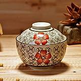 FaucetKAI Platos hondos Tazón de arroz de cerámica Taza de estofado a Prueba de Agua con Tapa Nido de pájaro Tazón de Crema de Huevo al Vapor Tazón de Postre de Tofu Cereza-Hong Fugui