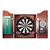 DMI Sports Deluxe Bristle Dartboard Cabinet Set with Electronic Scorer Includes 2 Dart Sets and a Chalk Scoreboard – Light Cherry
