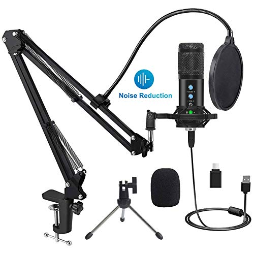 Studio USB Condenser Microphone, SPADE Professional 192kHz/24bit Cardioid Recording Microphone, Plug&Play Computer Microphone Kit with Scissor Arm, Streaming Mic for Podcasting YouTube Gaming