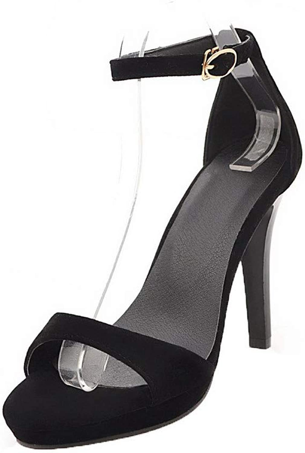 WeenFashion Women's High-Heels Frosted Solid Buckle Open Toe Sandals, Black, 36
