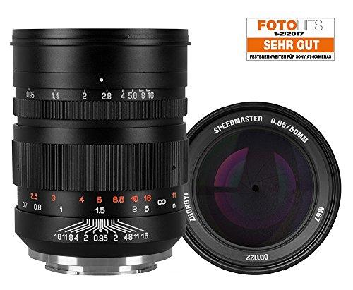 Zhongyi Mitakon Speedmaster 50 mm Objektiv f/0.95 für Sony E Bajonett z.B. A7 A7S A7R inkl. Sonnenblende
