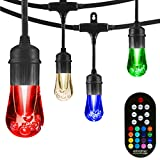 Enbrighten Vintage Seasons LED Warm White & Color Changing Café String Lights, Black, 24ft., 12 Premium Impact Resistant Lifetime Bulbs, Wireless, Weatherproof, Indoor/Outdoor, Commercial Grade, 37791
