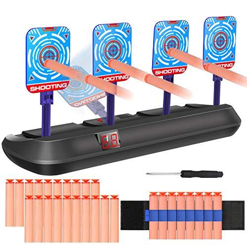 MGRETT Zielscheibe für Nerf, Elektronisches Digitale Zielscheibe, Auto Reset Elektro-Schießscheiben mit Hellem Soundeffekt Zielscheibe für Kinder Elite/Mega/Rival Series