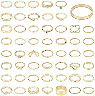 MENOLY 52 Pcs Gold Rings for Women Rings for Teen Girls Cute Rings Knuckle Rings Stackable Rings