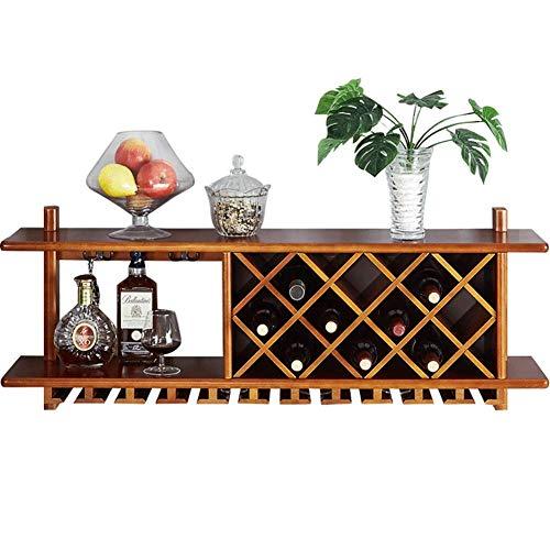 XHCP Weinschrank aus massivem Holz zur Wandmontage | Weinregal | Hängender Weinglashalter | Stielhalter | Weinflaschenhalter | Wandregal Speicherorganisator Rack-120x23.5x45.8cm