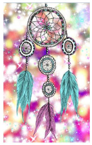 LILIANG Diy 5D Pushpin Painting Cross Stitch Kits Star Glitter Dream Catcher Mosaic Handmade Embroidery Home Decor Gifts (Color : Wood color frame, Size : 24 in)