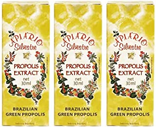 Official Distributor - 3 Bottle Apiario Silvestre Brazilian Green Bee Propolis Liquid Cereal Alcoholic Extract 30 ml